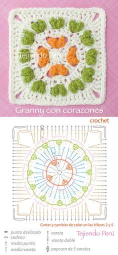 Crochet: granny o cuadrado con corazones en relieve! Diagrama o patrón :)