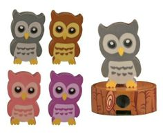 """Wise Owl Eraser and Sharpener - Set of 4 by Streamline. $10.19. Each approx. size: 2.5""""H.. Packaged individually in clear boxes.. Set of 4 colors: Pink, Purple, Brown & Grey.. A wise owl that sharpens your pencil, but has an eraser handy too."""