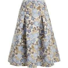 Erdem Aaliyah floral-jacqaurd midi skirt ($1,305) ❤ liked on Polyvore featuring skirts, white multi, draped skirt, knee length pleated skirt, calf length skirts, floral print skirt and floral pleated skirt