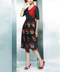 Chiro's Black & Red Floral Pashmina-Blend A-Line Dress by Chiro's #zulily #zulilyfinds