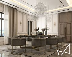 Dining room with Neo-classic style on Behance Luxury Interior Design, Interior Architecture, Classic Dining Room, Dinning Table, Classic Style, Behance, Furniture, Friends, Home Decor