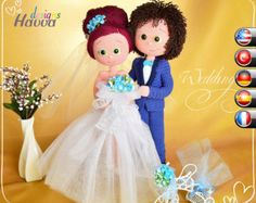 Amigurumi Bride and Groom Crochet Pattern - Crochet groom and bride pattern for your Amigurumi project. Make yourself your unique toys and gifts by HavvaDesigns crochet patterns. Crochet Doll Pattern, Easy Crochet Patterns, Crochet Patterns Amigurumi, Amigurumi Doll, Crochet Dolls, Doll Patterns, Wedding Pattern, Knooking, Crochet Mignon