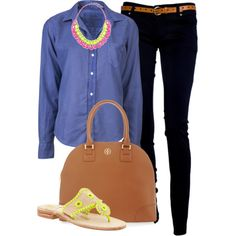 """""""Denim & Neon"""" by classically-preppy on Polyvore"""