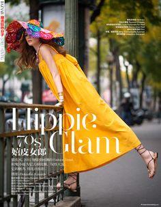 Hippie Glam 70'S: Yulia Serzhantova By Benjamin Kanarek For Harper's Bazaar China January 2015 - Hermes
