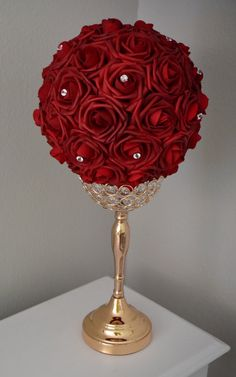 DEEP RED Flower Ball With Rhinestone Accent. Deep Red