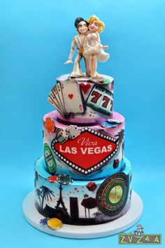 Las Vegas Wedding Cake - Cake by Nasa Mala Zavrzlama. We LOVE this wedding cake here at Sweetly Wrapped Occasions. Very unique! Vegas Themed Wedding, Themed Wedding Cakes, Las Vegas Weddings, Themed Cakes, Wedding Cake Toppers, Cake Wedding, Real Weddings, Custom Birthday Cakes, Cool Birthday Cakes