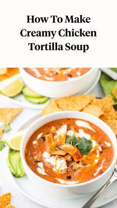 Creamy Chicken Tortilla Soup, Chicken Soup Recipes, Easy Tortilla Soup, Best Tortilla Soup Recipe, Mexican Tortilla Soup, Fajita Soup Recipe, Pork Soup, Chicken Enchilada Soup, Mexican Food Recipes
