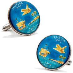 Hand Painted Florida State Quarter Cufflinks, Penny Black Forty from Cufflinskman