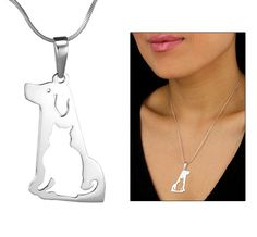 Peruvian Sterling Cat & Dog Necklace. How adorable! This purchase funds 28 bowls of food to needy animals!