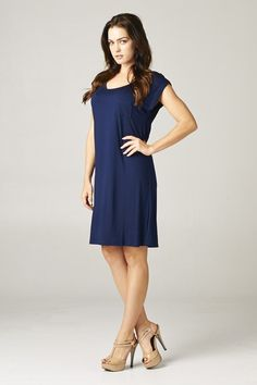 Easy Tee Shift Dress in Navy