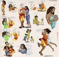 Aang and Katara... plus babies. XDDD
