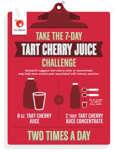Take the 7-day Tart Cherry Juice Challenge to ease muscle pain associated with intense exercise. ChooseCherries.com #cherries #RecoverWithRed #client