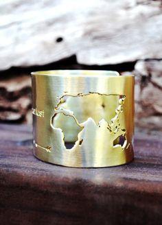 Travel Bracelet / World Map Cuff Bracelet / Travel by Bubblebox