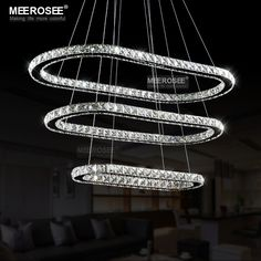 Ring led light crystal chandelier chandeliers lights and modern mozeypictures Gallery