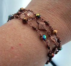 Dainty Stack Jewelry, Unique Bracelet Girlfriend Gift, Set of Three Wire Wrapped Czech Glass and Copper Wire Bracelets