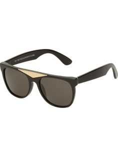 09c1a529f48fde Black Gino  sunglasses from Retro Super Future featuring a flat top with  gold-tone detailing, rectangular frames, brown lenses and thick frames.