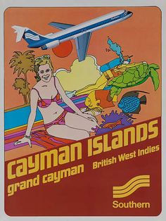 Cayman Islands • Grand Cayman • British West Indies • Southern Airlines #travel #poster (1970s)