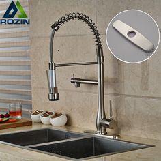 $6720  Buy Deck Mount Two Spout Spring Kitchen Sink Faucet Led Gorgeous Discount Kitchen Faucets Decorating Inspiration