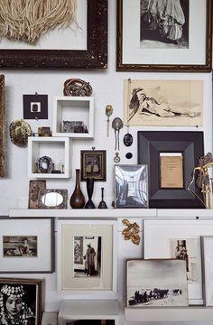 Inspiring creative gallery arrangement....they even used the floor.........