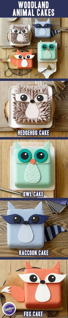 Woodland Animal Cakes - Fix, Owl, Hedgehog, Racoon. Use a square pan to make four different fondant Woodland Animal Cakes. Pretty Cakes, Cute Cakes, Beautiful Cakes, Amazing Cakes, Fondant Cakes, Cupcake Cakes, Fondant Bow, Fondant Tutorial, Fondant Flowers