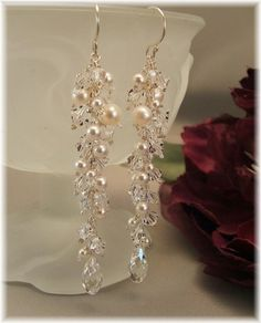WEDDING DAY EARRINGS - ICICLE PEARL EARRINGS  - LONG BRIDAL  EARRINGS | BridalChic - Wedding on ArtFire