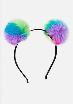 Rainbow Pom Headband