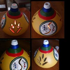 Terracotta Pot Painting with Warli design Worli Painting, Bottle Painting, Pottery Painting, Bottle Art, Hand Painted Rocks, Painted Pots, Art N Craft, Craft Work, Indian Inspired Decor