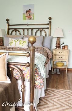 bedroom styling: vintage brass bed, ticking shams, French provincial furniture #brass
