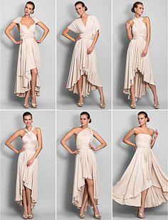 [CyberMondaySale]vestido convertible columna vaina jersey asimétrico vestido de dama de honor (633752) - CLP $ 59.288