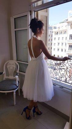 midi backless wedding dress Denise eleftheriou haute couture designer Haute Couture Designers, Backless Wedding, Brides, Wedding Dresses, Fashion, Bride Dresses, Moda, Bridal Gowns, Fashion Styles