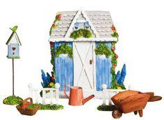 Mini Garden Elegant Garden Shed Set Fairy Garden | Colorful Impressions