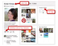 Pinterest Marketing Tips for SEO, Traffic, and Online Reputation Management - Awesome tips from Kristi Hines! #searchengineoptimizationexamples,