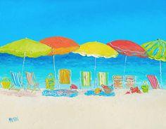 Beach Decor, Beach Art, ocean, Beach Painting, umbrellas, Tropical decor…