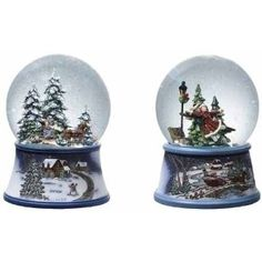 Set of 2 Enchanted Wintry Musical Christmas Snow Globe Glitterdomes