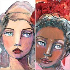 Supplies Me – Jane Davenport Art Journal Prompts, Art Journal Pages, Art Journals, Face Collage, Sisters Art, Face Illustration, Virtual Art, Art Themes, Naive Art