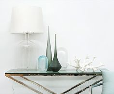 Glass lamp & coloured glass vases from The Contemporary Corner