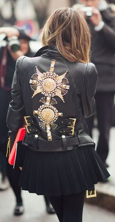 Leather jacket goals! Where can I get it? #leatherjacket #fashion #katrinaruth #katlikes| the gold embellishments are a bit much but i am loving the buckles and the belt on this jacket. So gorgeous!