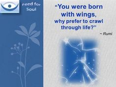 Rumi quote You Can Fly: You were born with wings, why prefer to crawl through life?