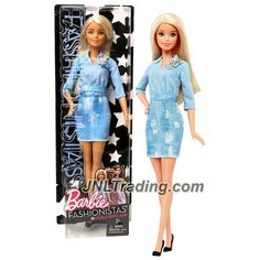Mattel Year 2016 Barbie Fashionistas 12 Inch Doll - BARBIE (DVX71) in Blue Double Denim Look Dress with Star Pin