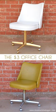 In this office chair makeover a vintage vinyl chair meets some paint & because an absolutely fabulous place to park booties & introduce style to the room! Diy Office Chair, Spray Painted Basket