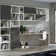 "Doors: Matt Lacquered in Iron Grey ""Fluida"": Decorative Melamine in Pure White Top: Zolfino Larch Laminate. Wood Bookshelves, Bookshelf Design, Modern Bedroom Design, Home Office Design, Living Room Interior, Living Room Furniture, Modern Study Rooms, Wall Storage Systems, Study Corner"