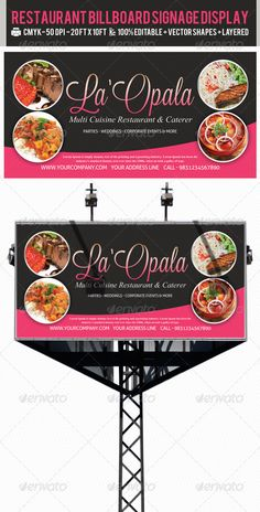 Restaurant Billboard AD Signage PSD Templates — Photoshop PSD #signage #outdoor restaurant banners • Available here → https://graphicriver.net/item/restaurant-billboard-ad-signage-psd-templates/2386673?ref=pxcr