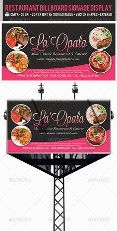 Restaurant Billboard AD Signage PSD Templates — Photoshop PSD #signage #outdoor restaurant banners • Available here → https://graphicriver.net/item/restaurant-billboard-ad-signage-psd-templates/2386673?ref=pxcr