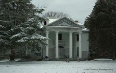 """Good morning everyone! While I'm waiting for the sun to break through the clouds and warm up all this early morning blue light. I thought I might post an alternate shot of """"Airlie"""" in historic Halifax County during our last NC blizzard! . Be safe and stay warm! - Scott  For more photos please check out my page at Scott Garlock Photography https://www.facebook.com/scottgarlockabandoned and if you like what you see, I sure would appreciate a good old fashioned """"Page Like"""" Thank you - Scott"""