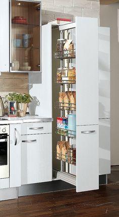 Tall cabinets for the kitchen - flexibly usable storage space - Best Interior Design Ideas Kitchen Pantry Design, Kitchen Cabinet Storage, Home Decor Kitchen, Kitchen Furniture, Interior Design Living Room, Design Moderne, Cuisines Design, Kitchen Remodel, Kitchens