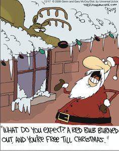 The Flying McCoys by Glenn and Gary McCoy  ~ Christmas Humor ~ Santa & Rudolph