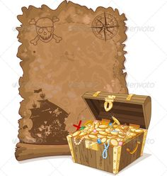 Pirate Map and Chest ... adventure, antique, art, banner, brigantine, cartoon, chest, clip, compass, damaged, designs, drawing, fantasy, gold, illustration, invitation, island, land, map, message, paper, parchment, pirate, scroll, sea, ship, skull, treasure, vector