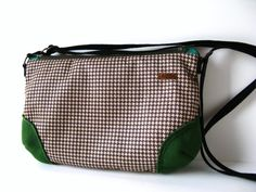 Brown Houndstooth Cross Body / Shoulder Bag with Green by askidas, $38.00