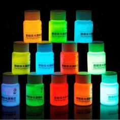 High quality 12 Colors Acrylic Glow In The Dark Paint - choose a colour in Home, Furniture & DIY, DIY Materials, Paint & Varnish Wood Resin Table, Epoxy Resin Wood, Diy Epoxy, Resin Art, Glow In Dark Paint, Glow Paint, Luminous Paint, Wood Table Design, Resin Furniture