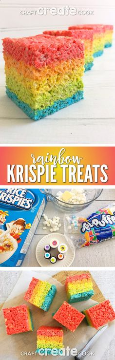 Youll want to try our Rainbow Rice Krispie Treats for an ultra satisfying dessert. via Craft Create Cook